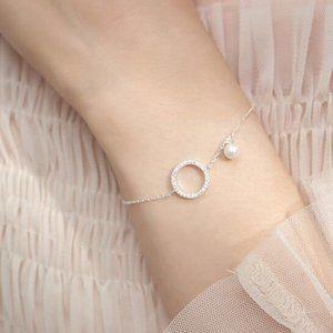 925 Sterling Silver Diamond Circle Pearl Bracelet